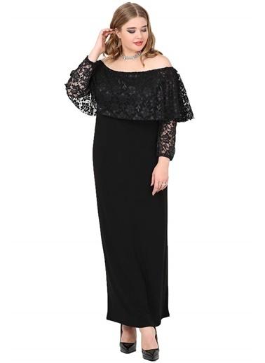 Angelino Butik Büyük Beden Omzu Açık Uzun Abiye Elbise KL779U Siyah